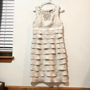 Adrianna Papell Beaded/Ruffle White Dress Size 10